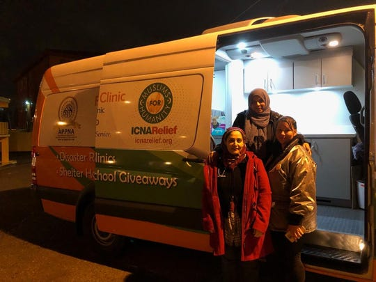 Volunteers from the Islamic Circle of North America Relief mobile clinic came from Dallas to assist migrants with medical care Friday and Saturday. The organization has four mobile clinics in partnership with the American Physician of Pakistani descent of North America organization.