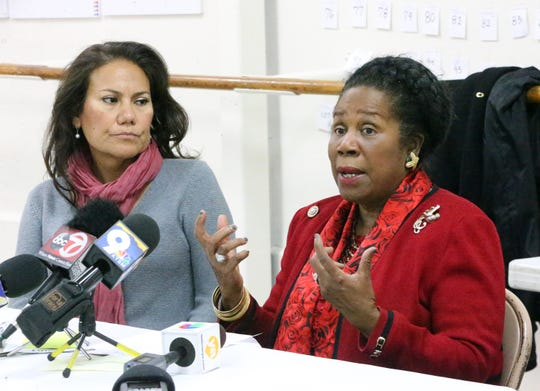 U.S. Rep. Sheila Jackson Lee, right, of Houston speaks at a press conference with U.S. Rep. elect Veronica Escobar after they visited the border area Saturday.