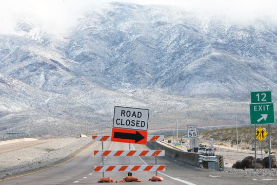 Trans Mountain Road was temporarily closed Saturday morning following overnight sleet and snow that made the mountain roadway treacherous to drive. The picture was taken from the West side of the Franklin Mountains looking East.