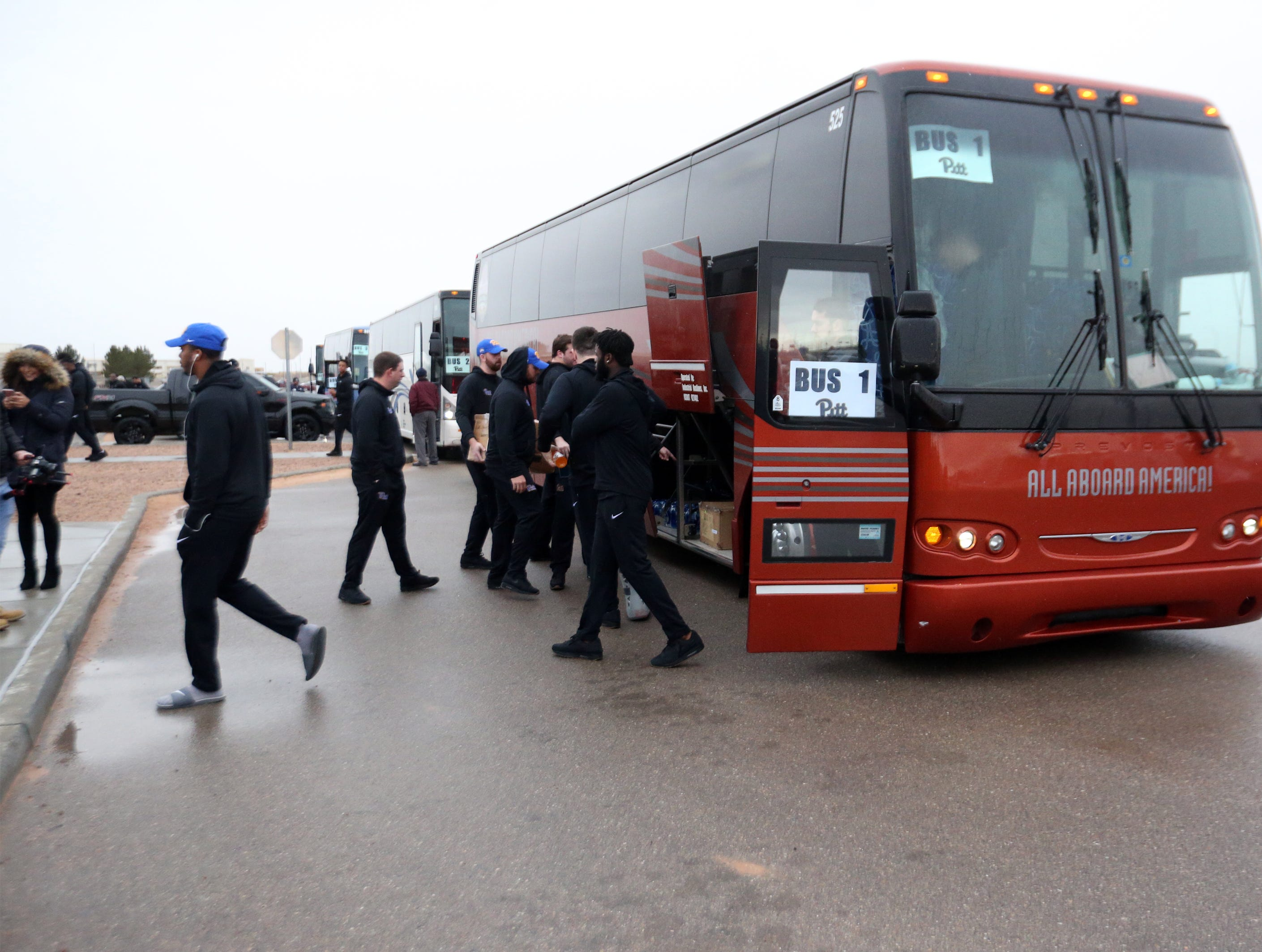 University of Pittsburgh football team members arrive at Fort Bliss Friday.