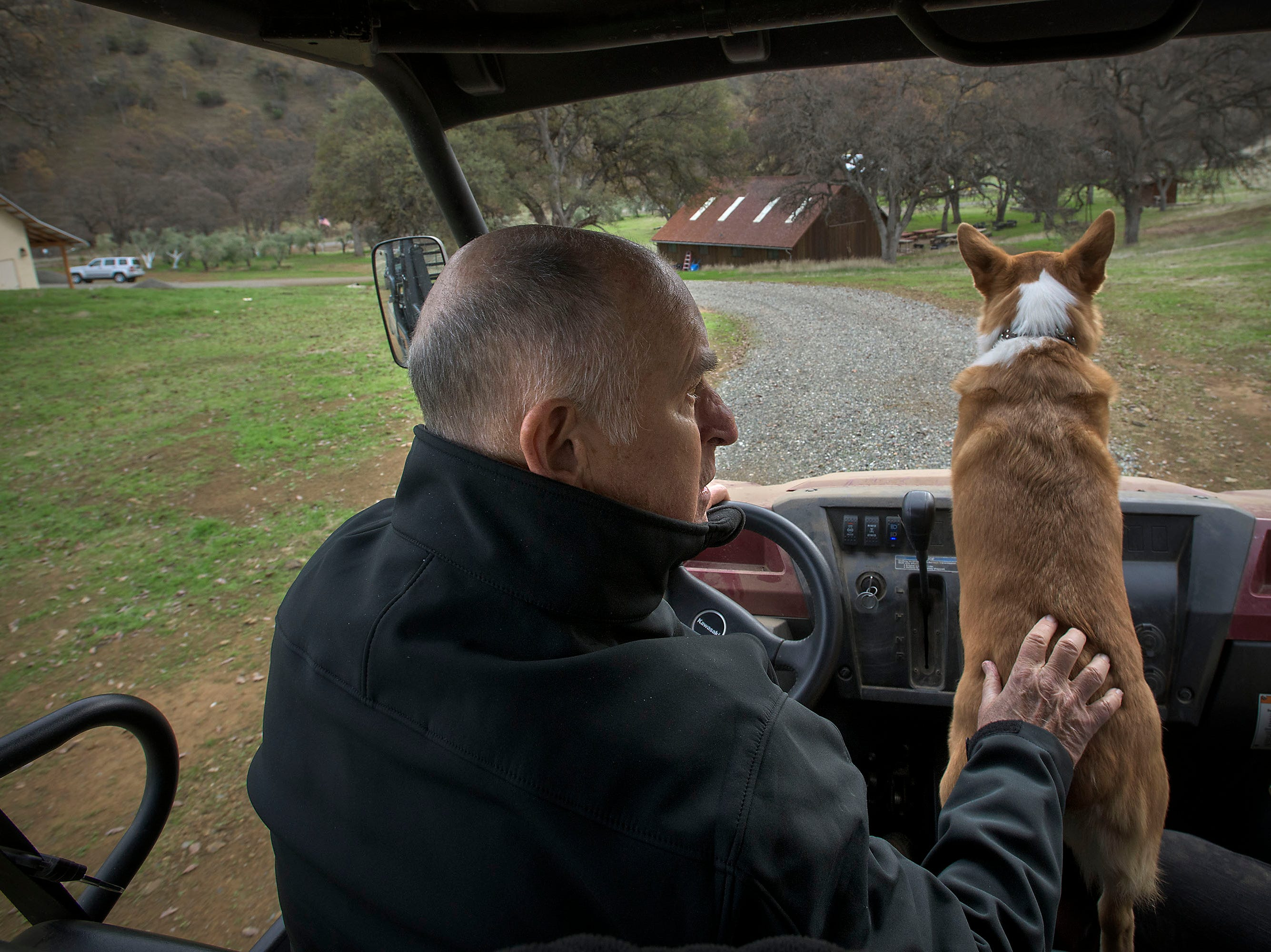 Colusa rides shotgun with California Gov. Jerry Brown as the pair drive around Brown's ranch near Williams, where and he and his wife have built a new home for their retirement years. The home is built on property originally purchased by his great-grandfather.