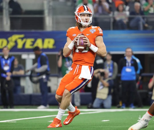 Clemson quarterback Trevor Lawrence looks to throw against Notre Dame in the 2018 Cotton Bowl.