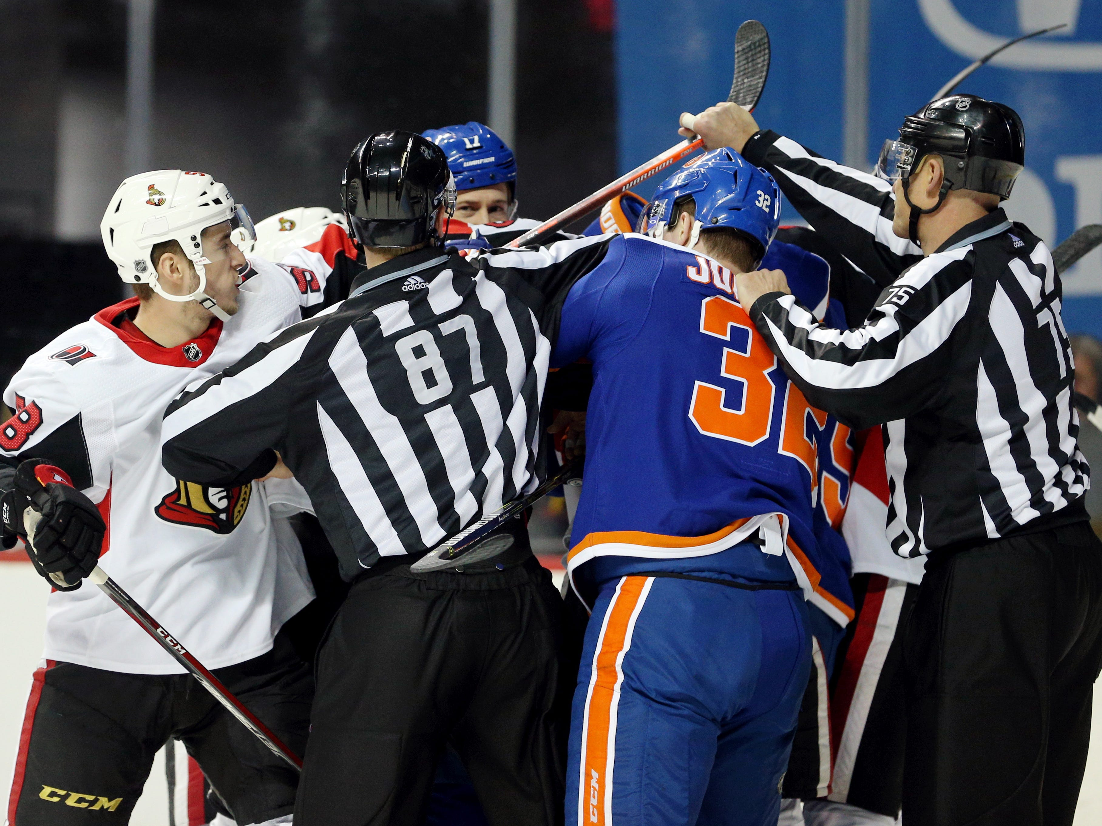 Dec. 28: The Ottawa Senators and New York Islanders mix it up in the second period. The teams also had three fights in the final 30 seconds.
