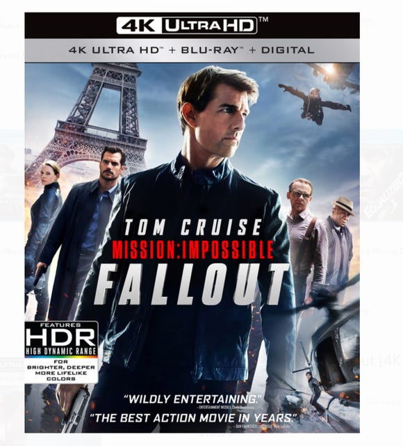 "The 4K Ultra HD Blu-ray Disc version of 'Mission: Impossible - Fallout"" starts at about $20 and comes with a 4K disc, HD disc and digital download of the movie."