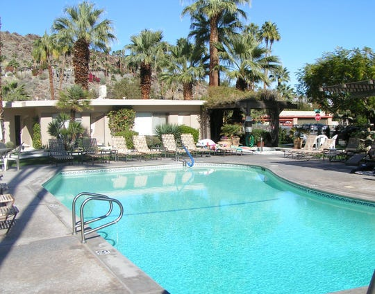 Hanging by the pool at the Desert Hills hotel in Palm Springs