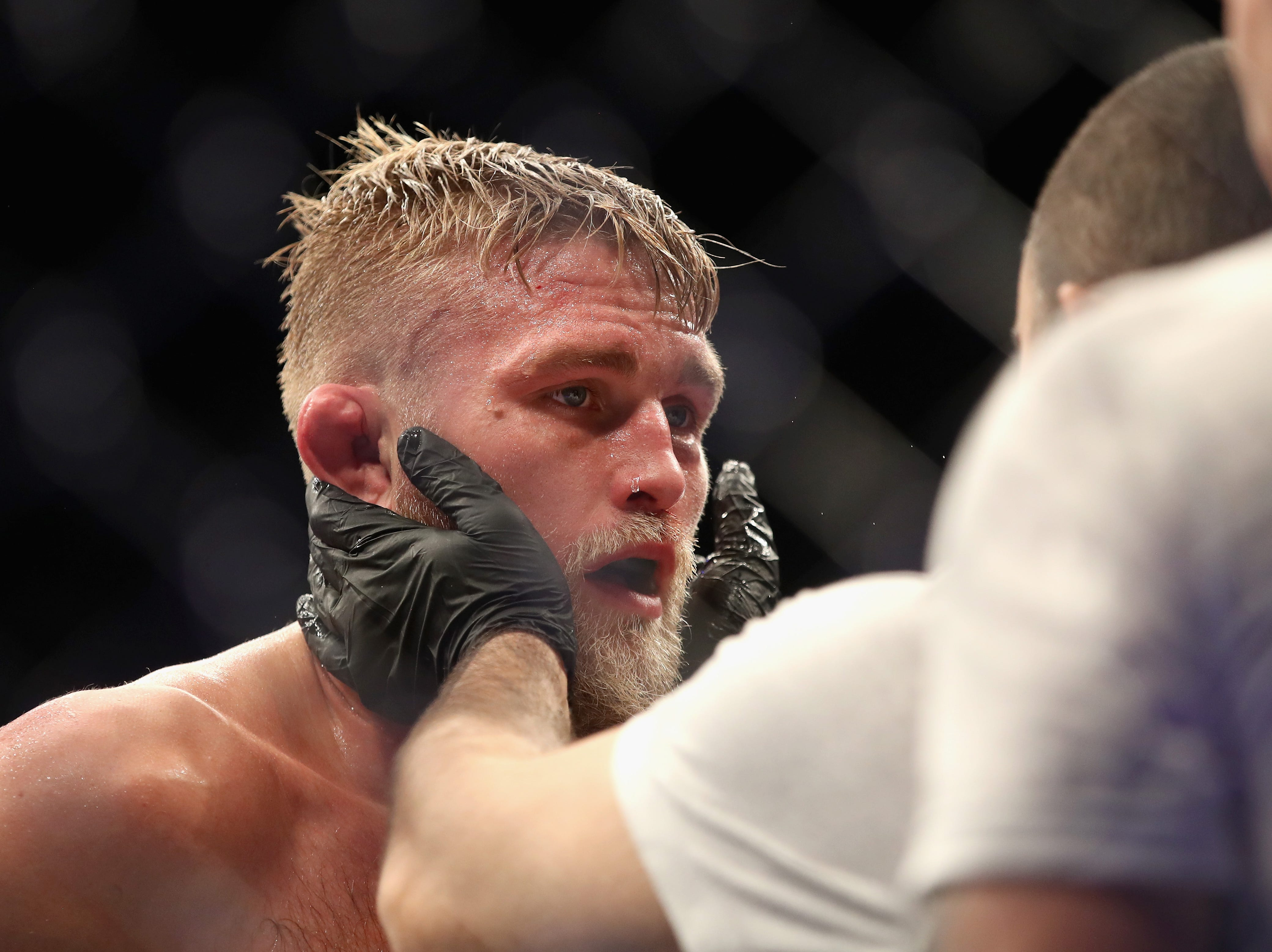 INGLEWOOD, CA - DECEMBER 29:  Alexander Gustafsson of Sweden  looks on after being defeated by Jon Jones during a Light Heavyweight titlebout during the UFC 232 event inside The Forum on December 29, 2018 in Inglewood, California.   Jones defeated Gustafsson by KO.  (Photo by Sean M. Haffey/Getty Images)