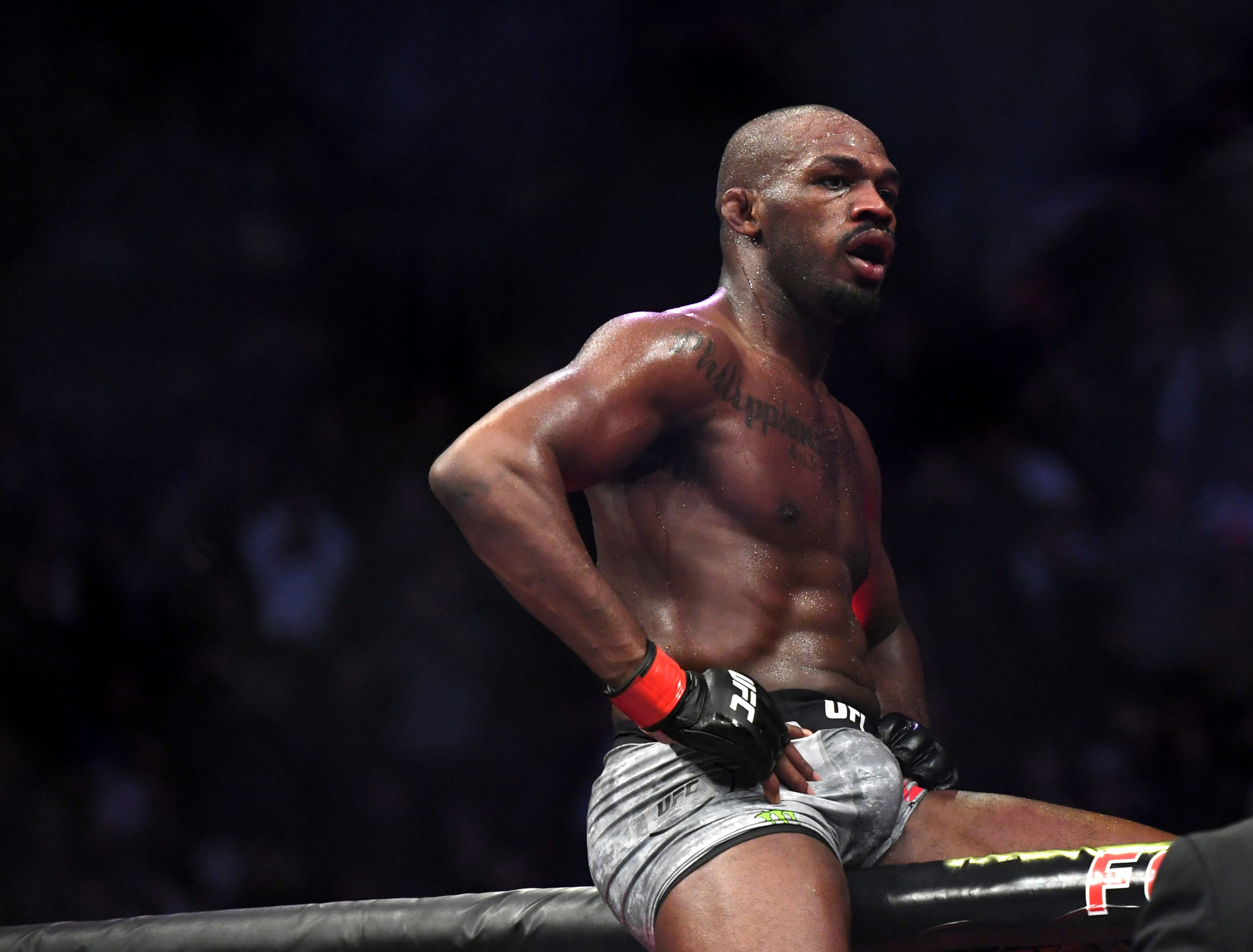 Jon Jones goes up on top of the octagon after defeating Alexander Gustafsson in the UFC men's light heavyweight mixed martial arts bout at UFC 232, Saturday, Dec. 29, 2018, in Inglewood, Calif. (AP Photo/Kyusung Gong)