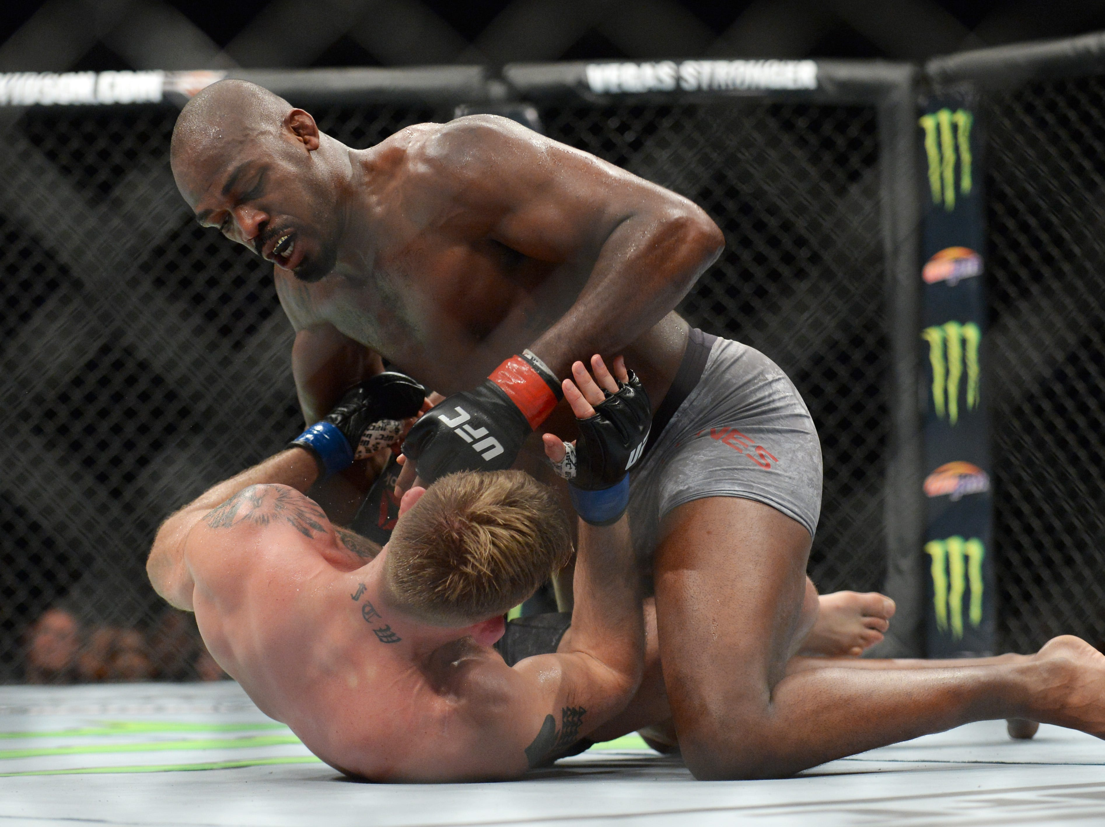 Dec 29, 2018; Los Angeles, CA, USA; Jon Jones (red gloves) fights Alexander Gustafsson (blue gloves) during UFC 232 at The Forum. Mandatory Credit: Gary A. Vasquez-USA TODAY Sports