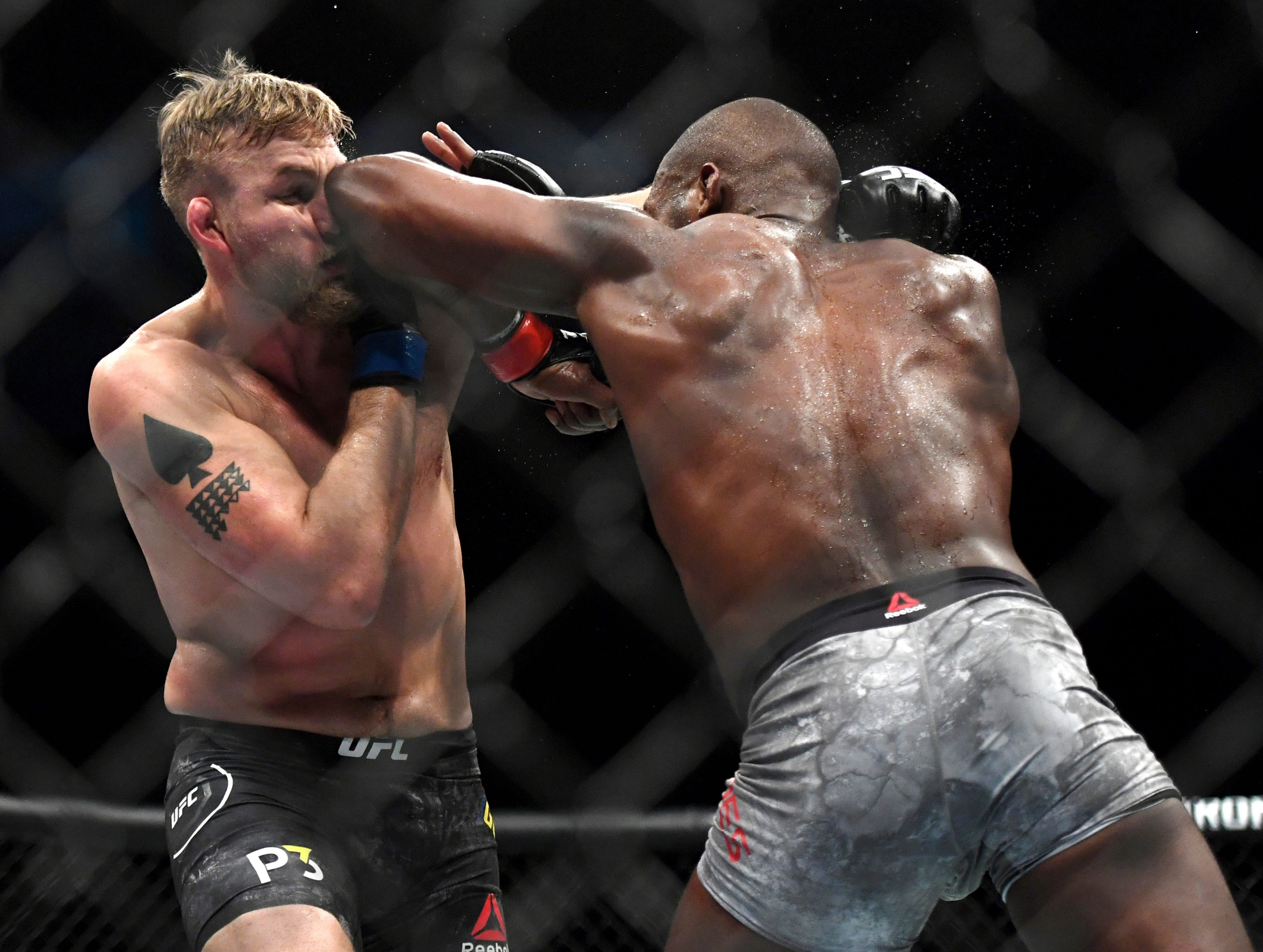 Jon Jones, right, lands an elbow to Alexander Gustafsson during the UFC men's light heavyweight mixed martial arts bout at UFC 232, Saturday, Dec. 29, 2018, in Inglewood, Calif. (AP Photo/Kyusung Gong)