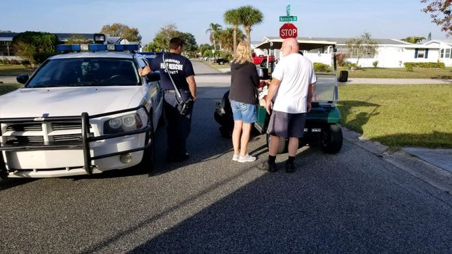 Brevard County Fire Rescue personnel reunited a wandering child with its parents Sunday morning in Barefoot Bay.