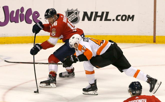 Florida's Aleksander Barkov had a pair of assists against the Flyers Saturday night, including setting up Mike Hoffman for a power-play goal.
