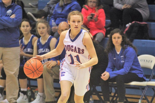 Conner senior Joy Strange during Conner's 54-46 overtime win over Highlands in girls basketball in the finals of Conner's LaRosa's Holiday Classic Dec. 29, 2018, Hebron KY.