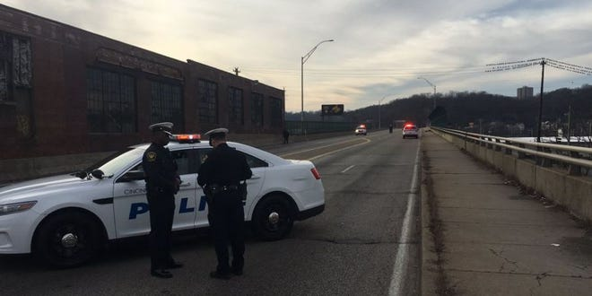 Police said a 2-year-old was struck and taken to hospital with life-threatening injuries after driver hit the child on the sidewalk in a stroller on the Hopple Street overpass.