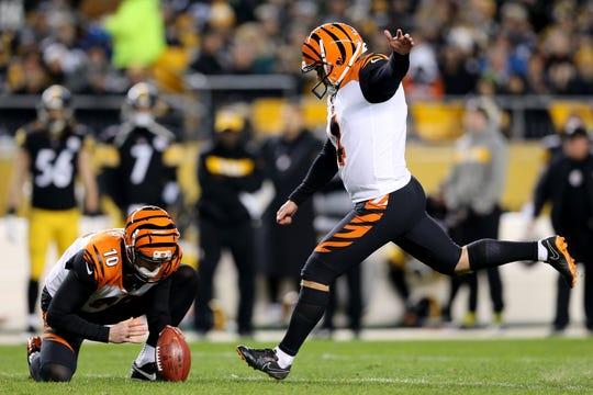 Cincinnati Bengals kicker Randy Bullock (4) kicks a field goal in the second quarter of a Week 17 NFL football game, Sunday, Dec. 30, 2018, at Heinz Field in Pittsburgh. The Cincinnati Bengals lead 10-3 at halftime.