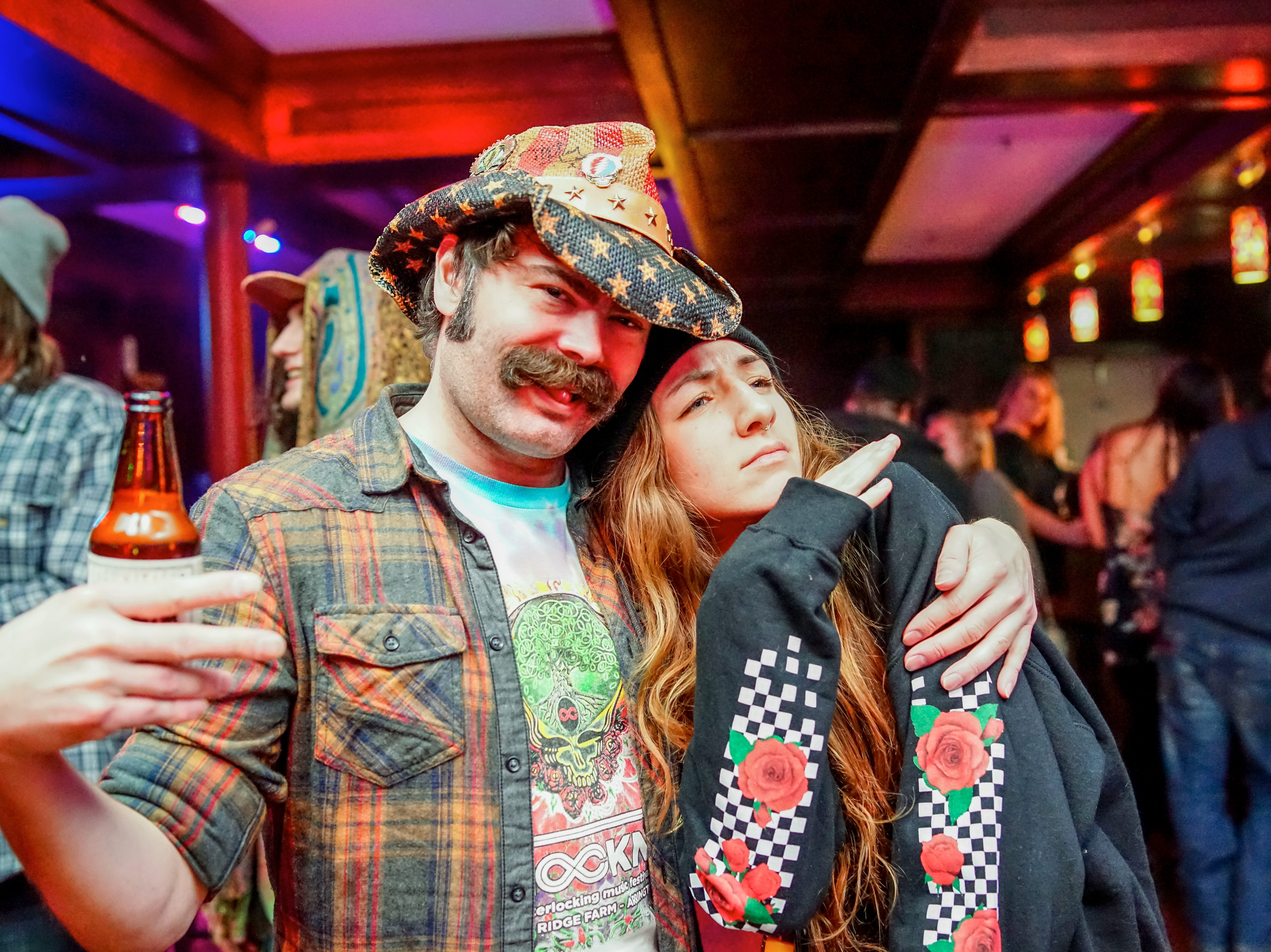 Josh Seburt, 35, and Bethany Fischer, 23, both of Des Moines, having a blast, Friday, December 28th, at Heroes.