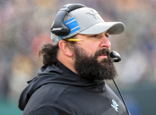 Matt Patricia calls a play in the third quarter of the Lions' 31-0 win.
