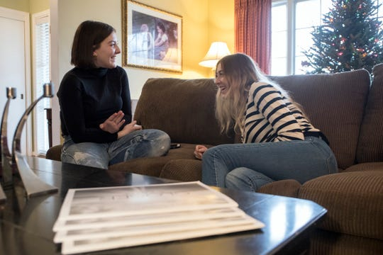 From left, Molly Bonnell, 24 jokes with sister Emily Bonnell, 21, while home for the holidays, Monday, Dec. 24, 2018.  The women, daughters of veteran WWJ-AM reporter Laura Bonnell, were diagnosed with cystic fibrosis 18 years ago. Laura runs a foundation to aid families living with CF.