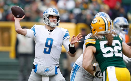 Lions quarterback Matthew Stafford throws during the first half on Sunday, Dec. 30, 2018, in Green Bay, Wis.