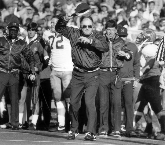 Michigan football coach Bo Schembechler shows his temper during a game.