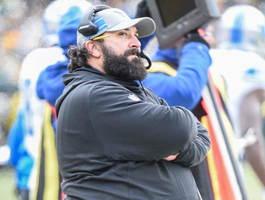 Lions coach Matt Patricia calls a play in the first quarter during the first half on Sunday, Dec. 30, 2018, in Green Bay, Wis.