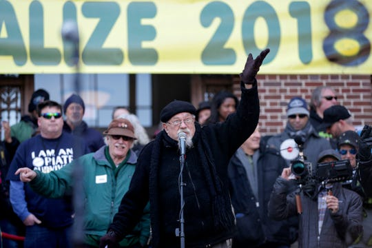 John Sinclair recites a poem as he speaks during the annual Hash Bash at  U-M's Diag in Ann Arbor on Saturday, April 7, 2018.