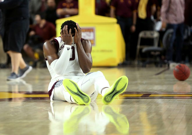 Arizona State guard Luguentz Dort reacts to the team's 67-66 loss to Princeton.
