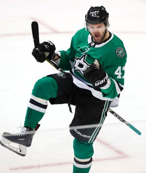 Dallas Stars right wing Alexander Radulov (47) celebrates scoring his goal during the second period.