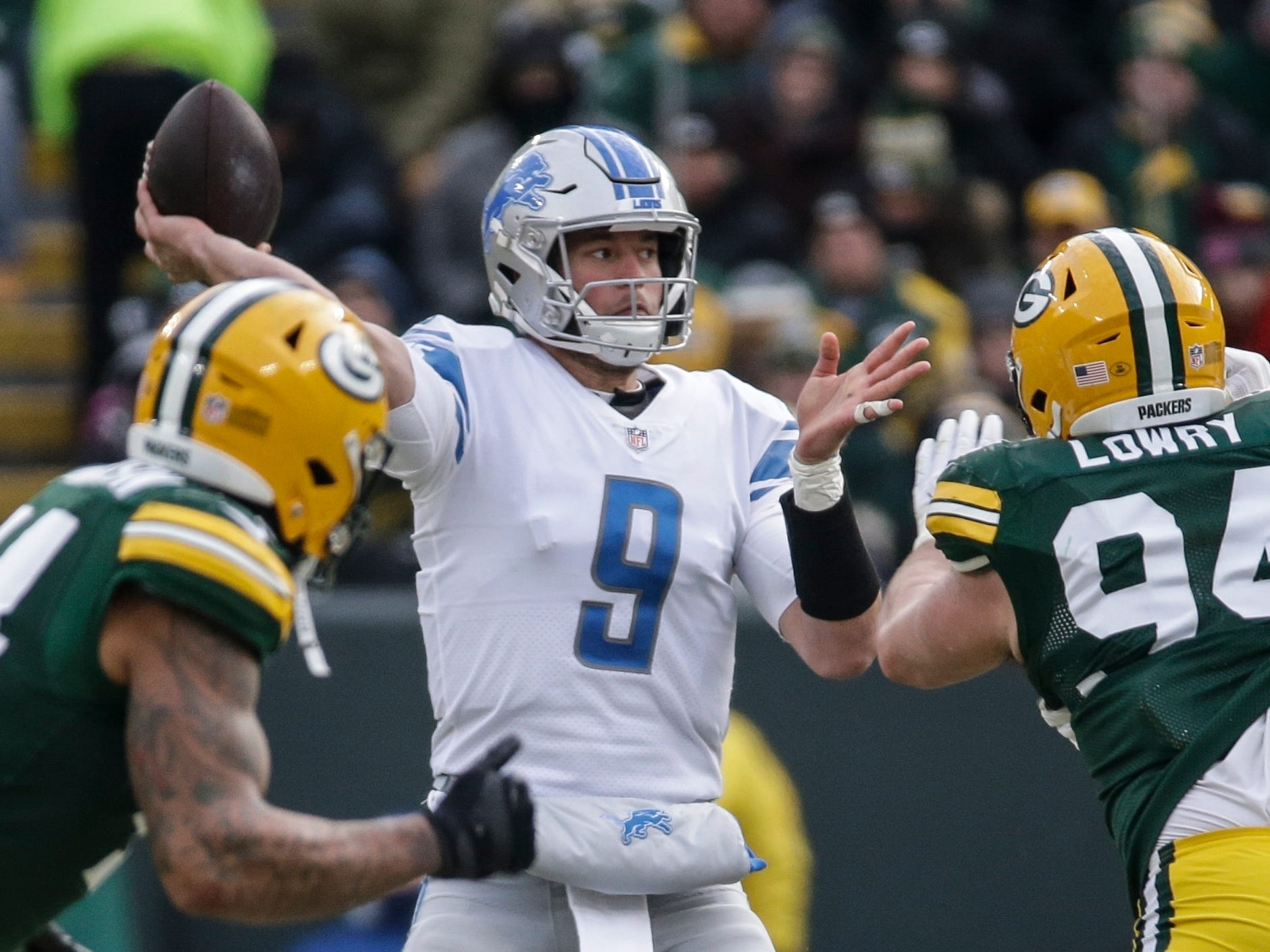 Detroit's Matthew Stafford throws during the second half.