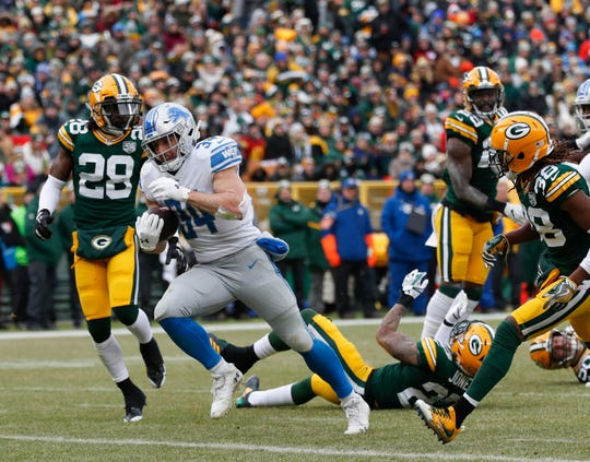 Detroit's Zach Zenner runs for a touchdown during the first half.