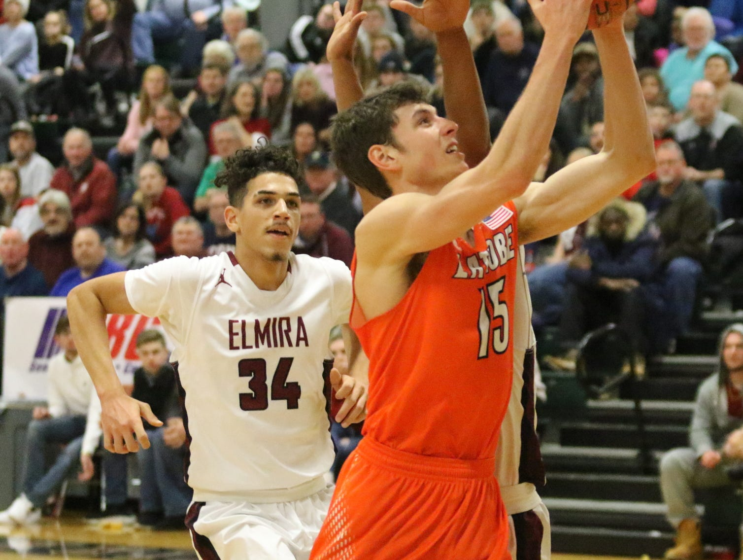 Reed Fenton of Greater Latrobe goes up for a layup in a 71-50 win over Elmira in the boys National Division semifinals at the Josh Palmer Fund Elmira Holiday Inn Classic on Dec. 29, 2018 at Elmira High School.