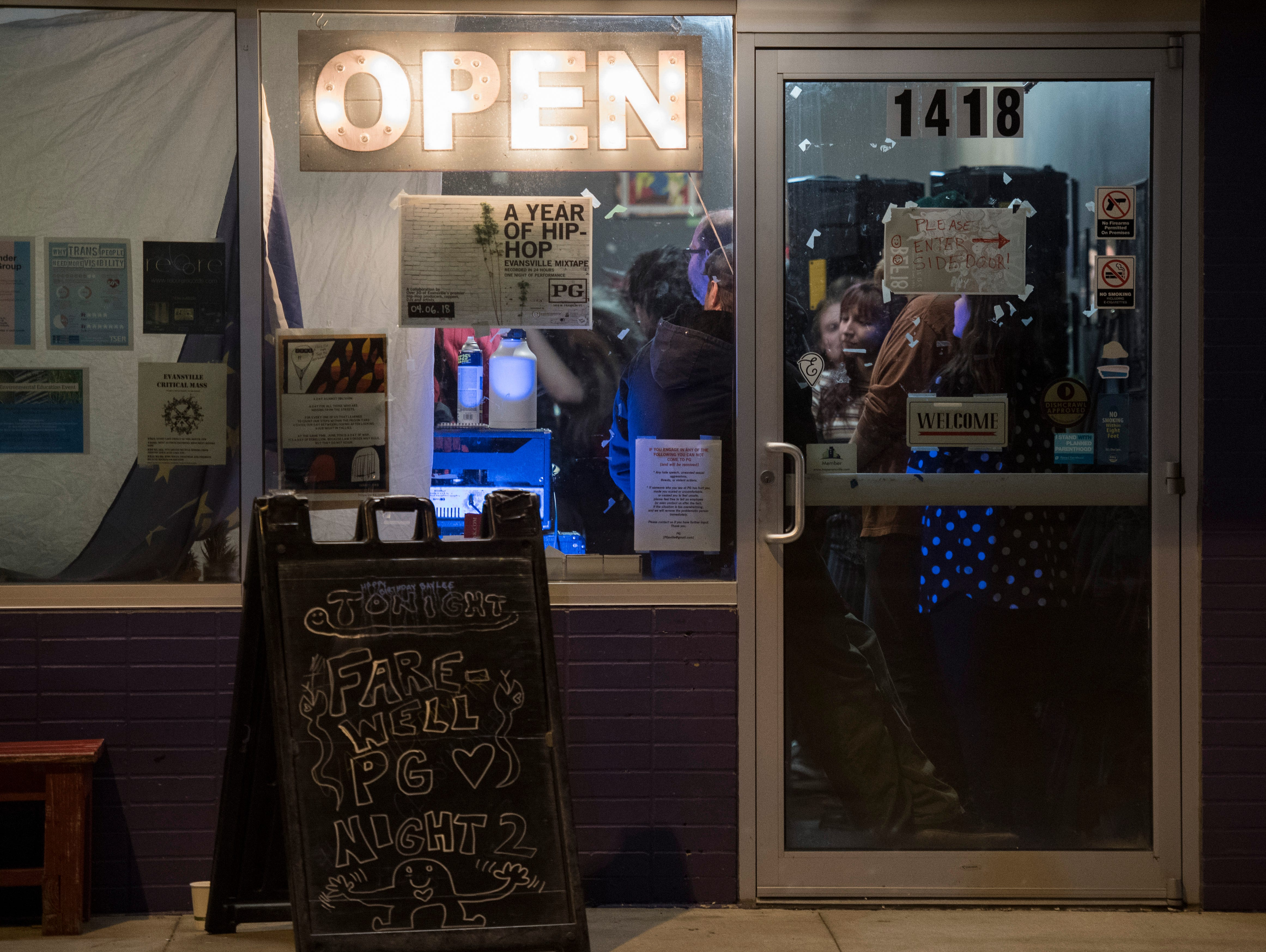 """Saturday was one of the last times the open sign will be lit at PG. PG -- a cafe, art and music venue -- opened March 15, 2013, and has served as a gathering place for the creative community in Evansville. """"We always survive,"""" said owner Todd Elkshow Huber.  Their final day open is Monday, Dec. 31, 2018."""