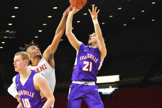 University of Evansville senior guard Shea Feehan releases a shot against Miami of Ohio in a game Sunday afternoon at Millett Hall in Oxford, Ohio.