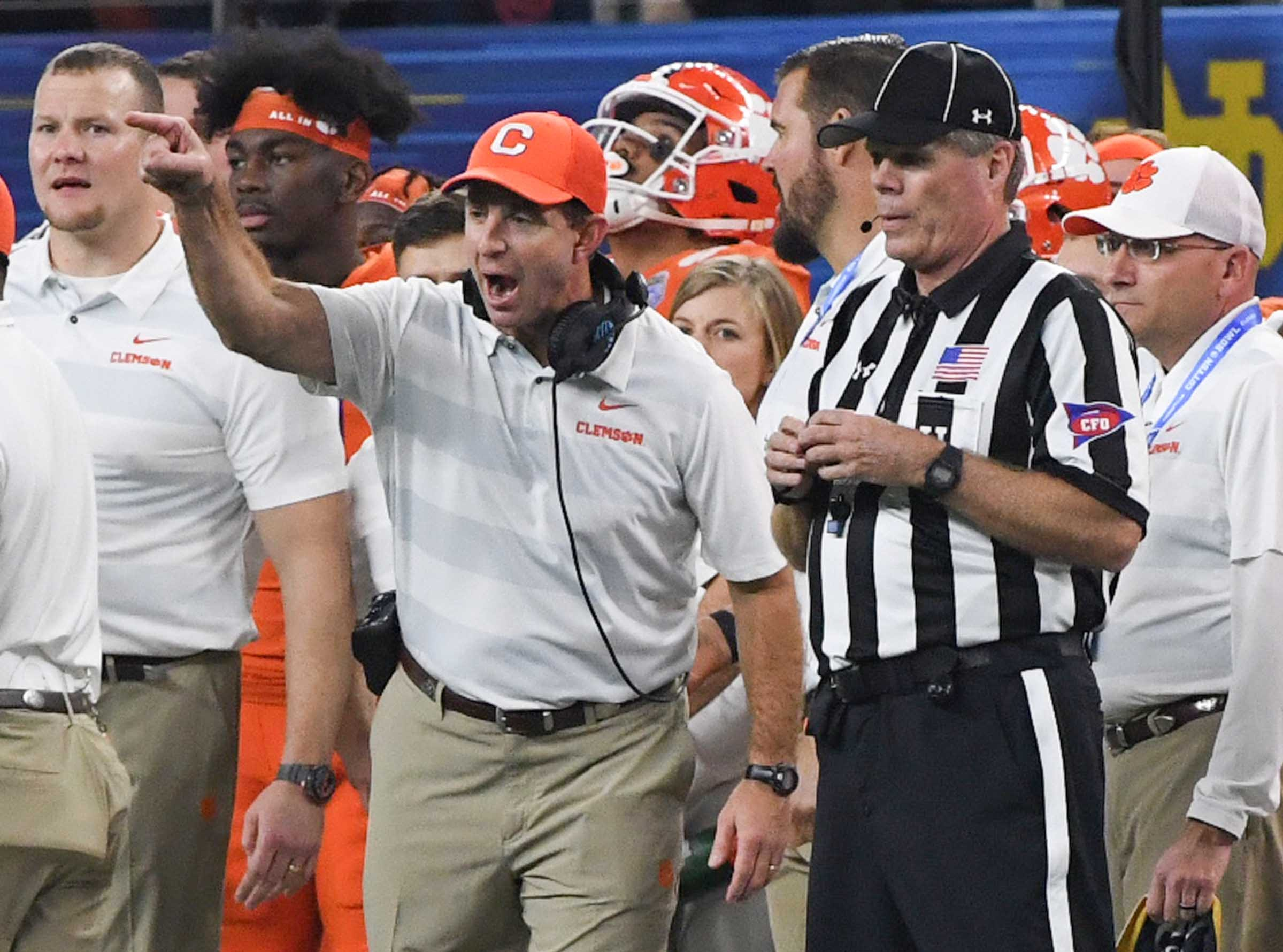 Clemson Head Coach Dabo Swinney argues with a referee during the fourth quarter of the College Football Playoff Semifinal at the Goodyear Cotton Bowl Classic at AT&T Stadium in Arlington, Texas Saturday, December 29, 2018.