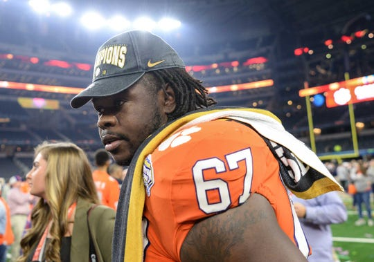 Clemson defensive lineman Albert Huggins (67) after the College Football Playoff Semifinal 30-3 win over Notre Dame at the Goodyear Cotton Bowl Classic at AT&T Stadium in Arlington, Texas Saturday, December 29, 2018.
