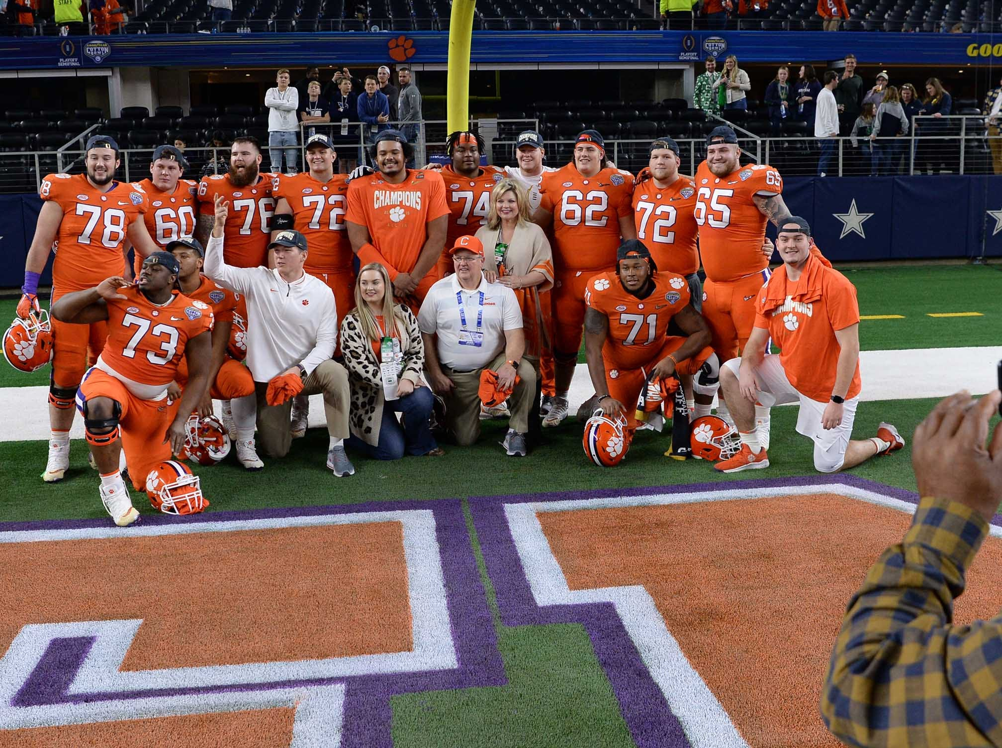 Clemson offensive linemen pose for a photo after the College Football Playoff Semifinal 30-3 win over Notre Dame at the Goodyear Cotton Bowl Classic at AT&T Stadium in Arlington, Texas Saturday, December 29, 2018.