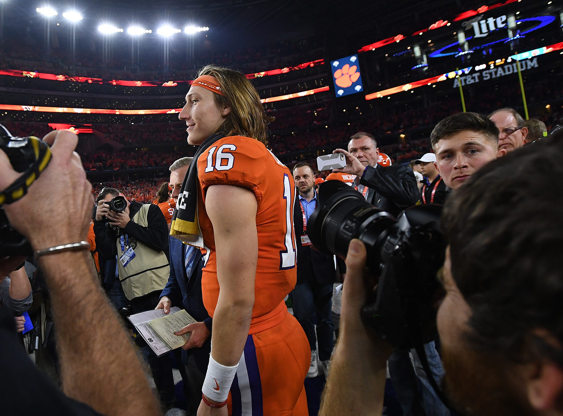 Clemson quarterback Trevor Lawrence (16) after the Tigers 30-3 win over Notre Dame in the Goodyear Cotton Bowl at AT&T stadium in Arlington, TX Saturday, December 29, 2018.