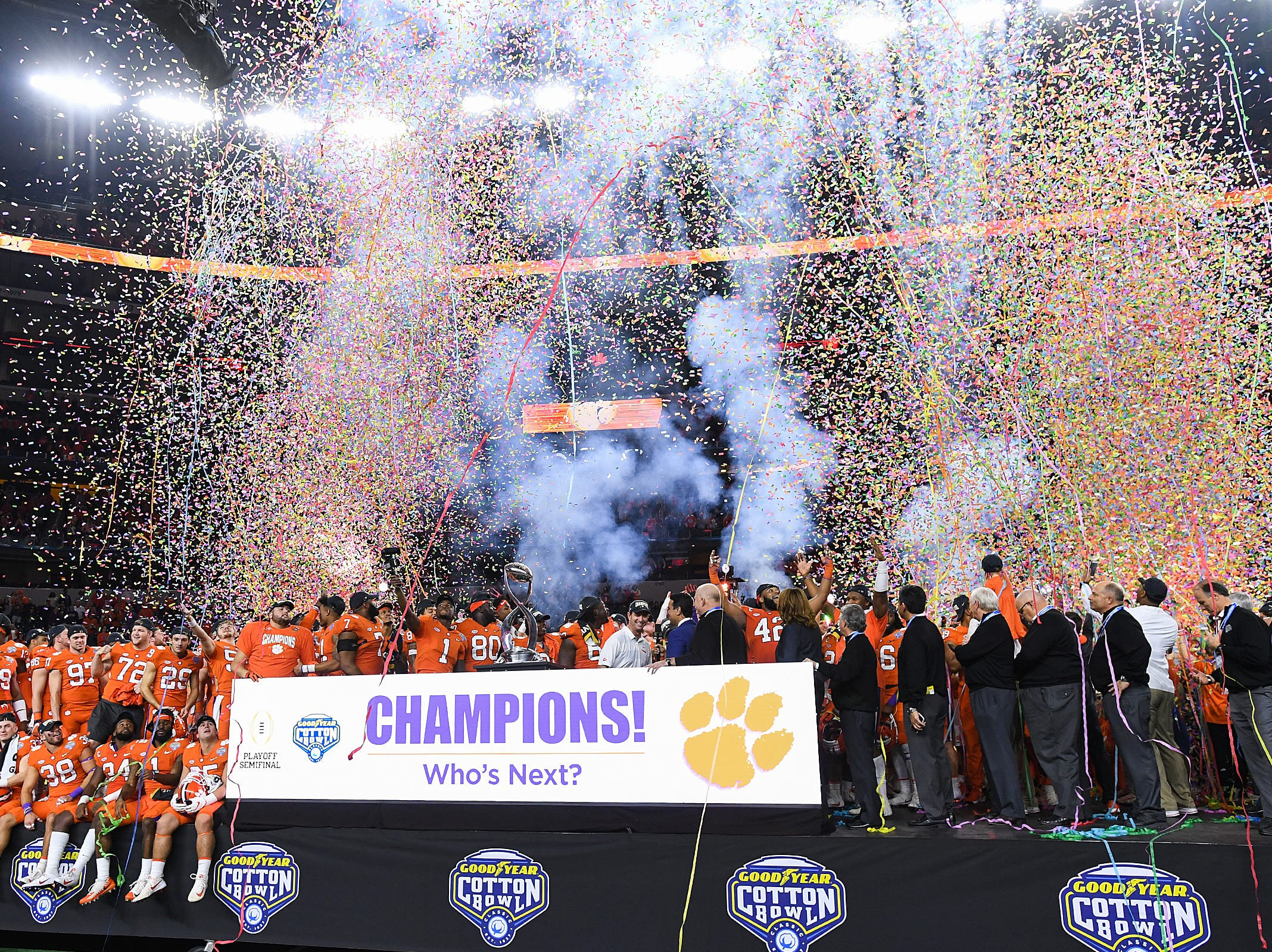 Clemson celebrates after their 30-3 win over Notre Dame at AT&T stadium in Arlington, TX Saturday, December 29, 2018.