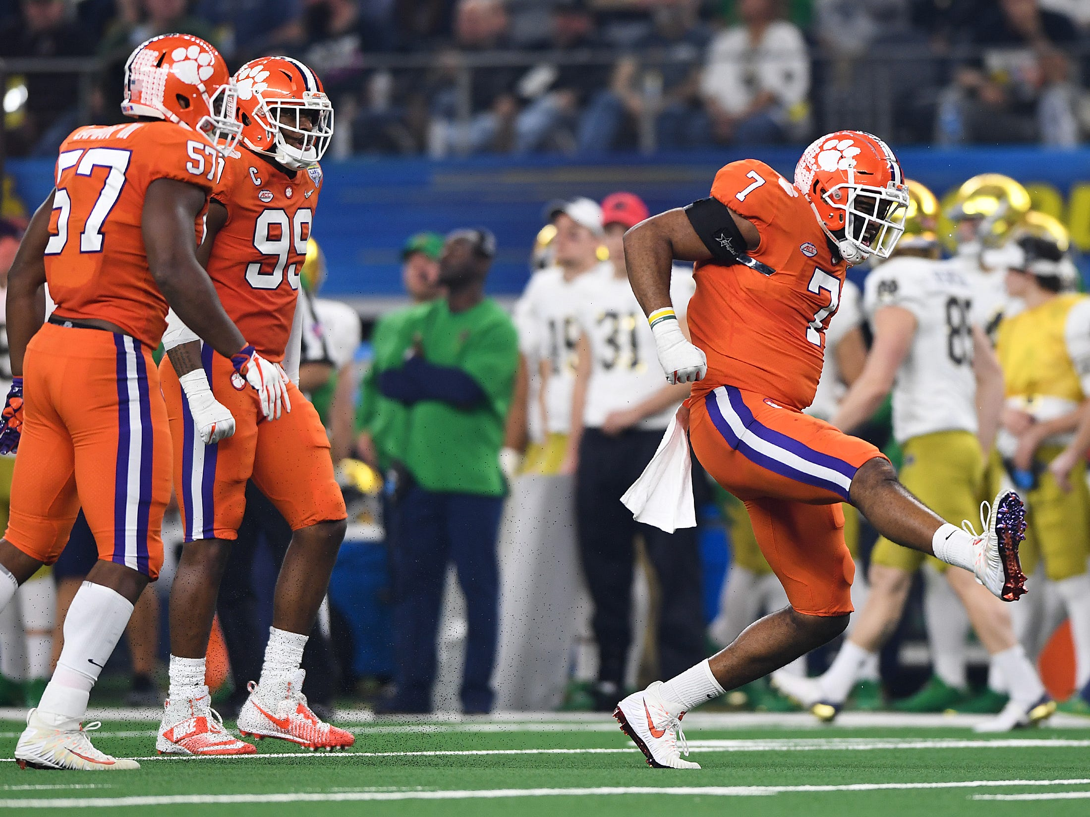 Clemson defensive lineman Austin Bryant (7) reacts after a defensive stop during the 2nd quarter of the Goodyear Cotton Bowl at AT&T stadium in Arlington, TX Saturday, December 29, 2018.