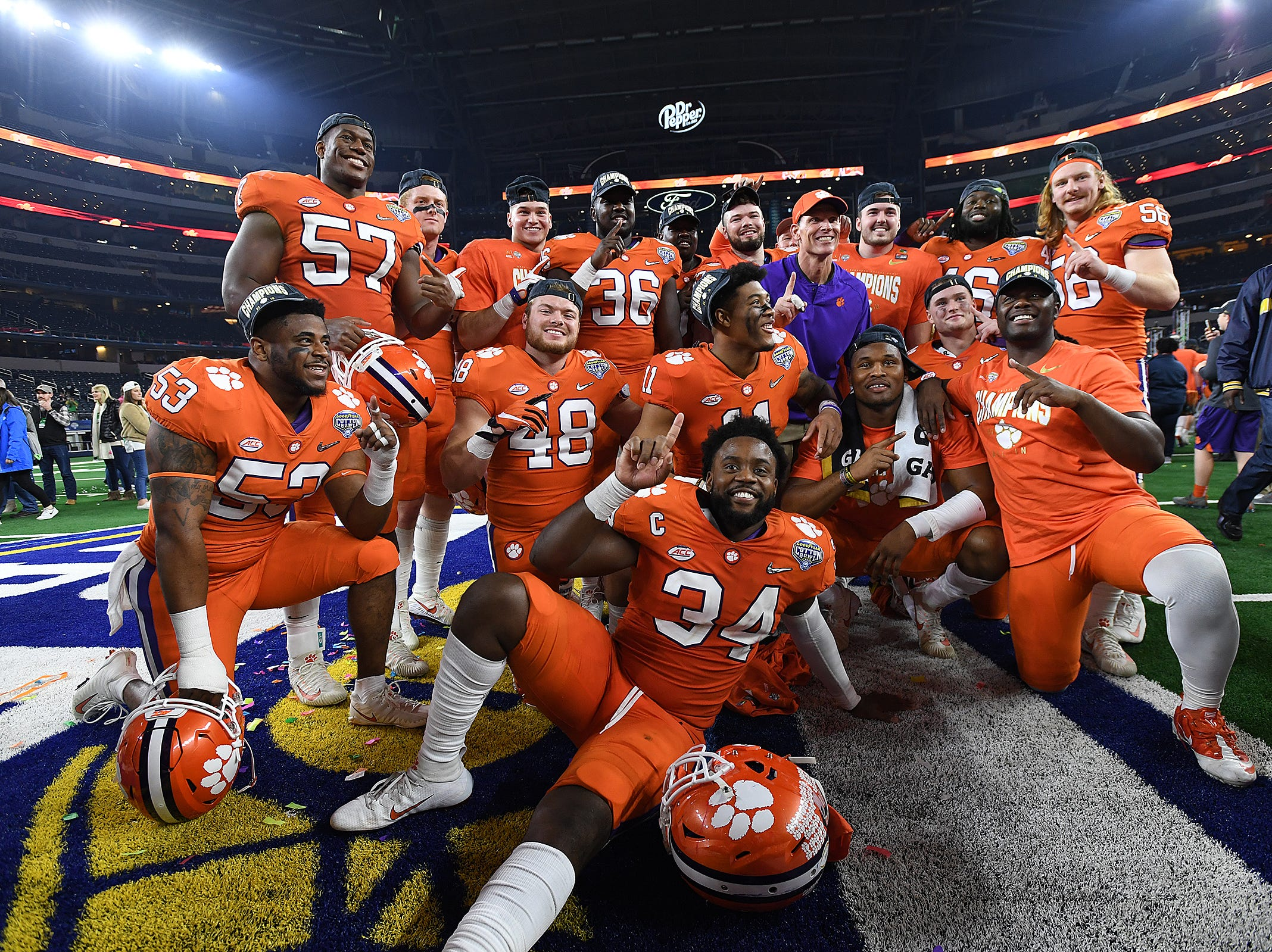 Clemson's defense after the Tigers 30-3 win over Notre Dame in the Goodyear Cotton Bowl at AT&T stadium in Arlington, TX Saturday, December 29, 2018.