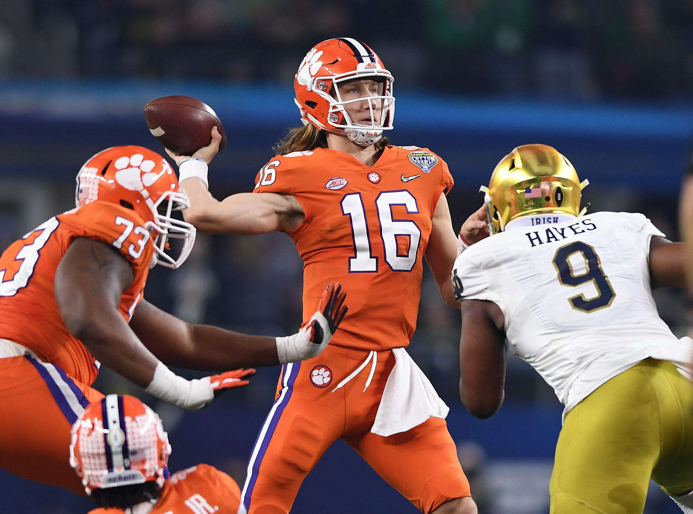 Clemson quarterback Trevor Lawrence (16) passes against Notre Dame during the 2nd quarter of the Goodyear Cotton Bowl at AT&T stadium in Arlington, TX Saturday, December 29, 2018.