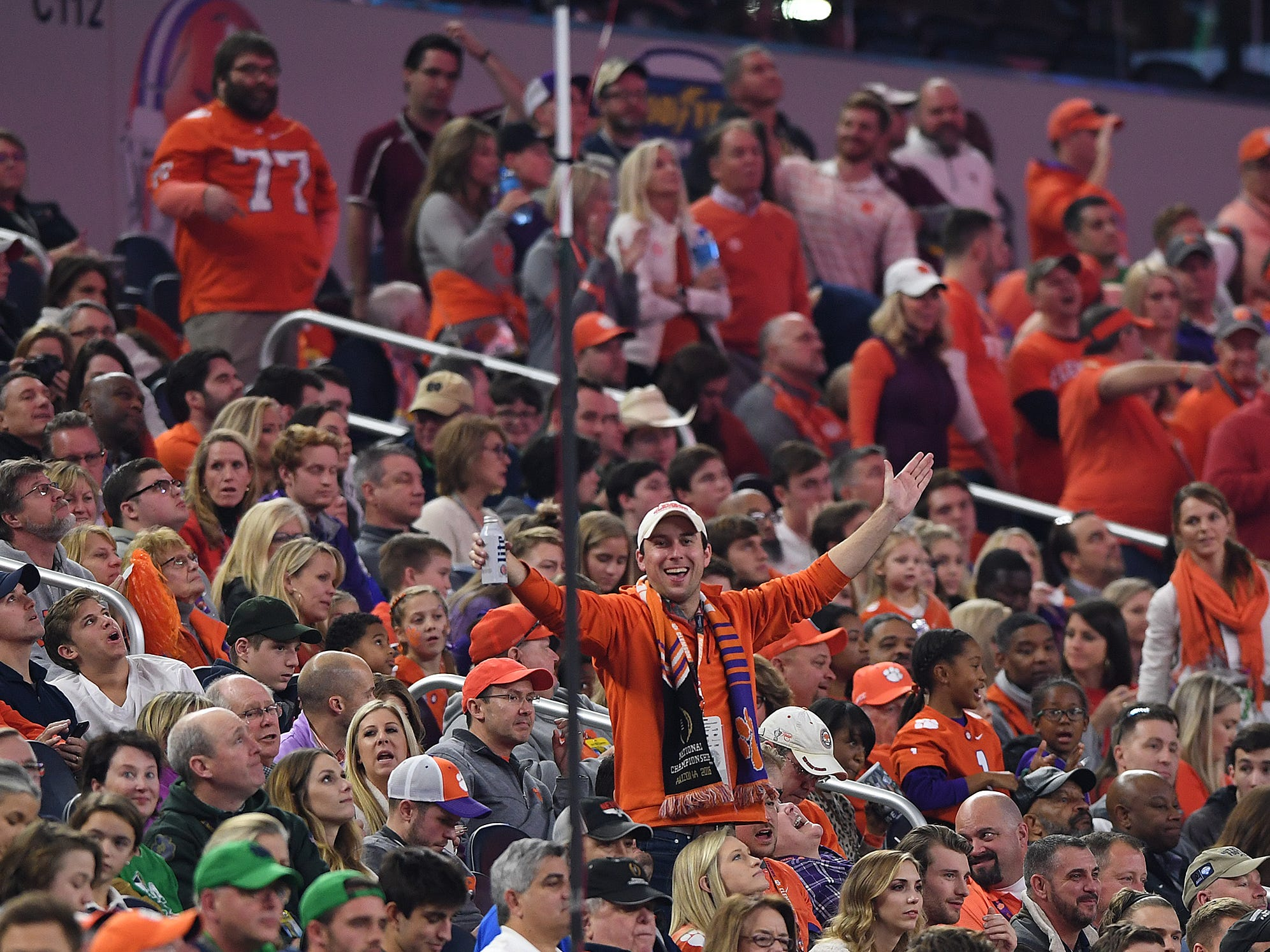 Clemson fans during the 4th quarter of the Goodyear Cotton Bowl at AT&T stadium in Arlington, TX Saturday, December 29, 2018.