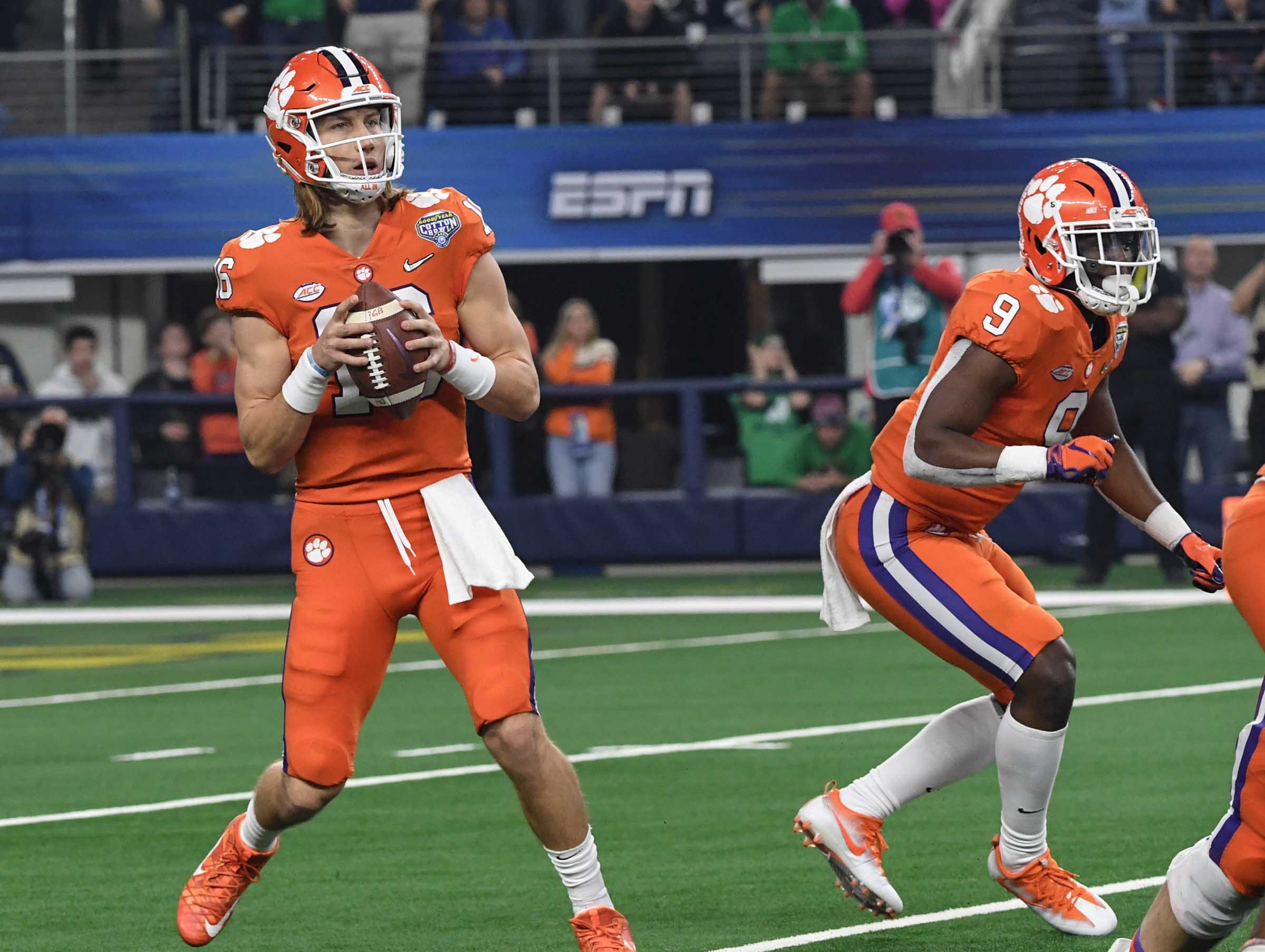 Clemson quarterback Trevor Lawrence (16) fades back to pass against Notre Dame during the third quarter of the College Football Playoff Semifinal at the Goodyear Cotton Bowl Classic at AT&T Stadium in Arlington, Texas Saturday, December 29, 2018.