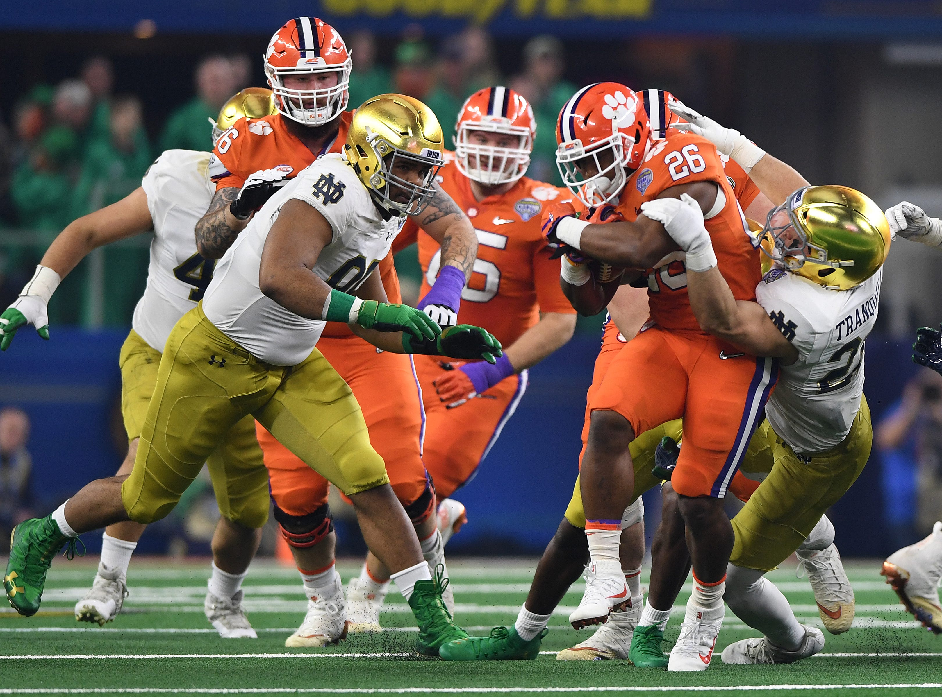 Clemson running back Adam Choice (26) carries against Notre Dame during the 2nd quarter of the Goodyear Cotton Bowl at AT&T stadium in Arlington, TX Saturday, December 29, 2018.
