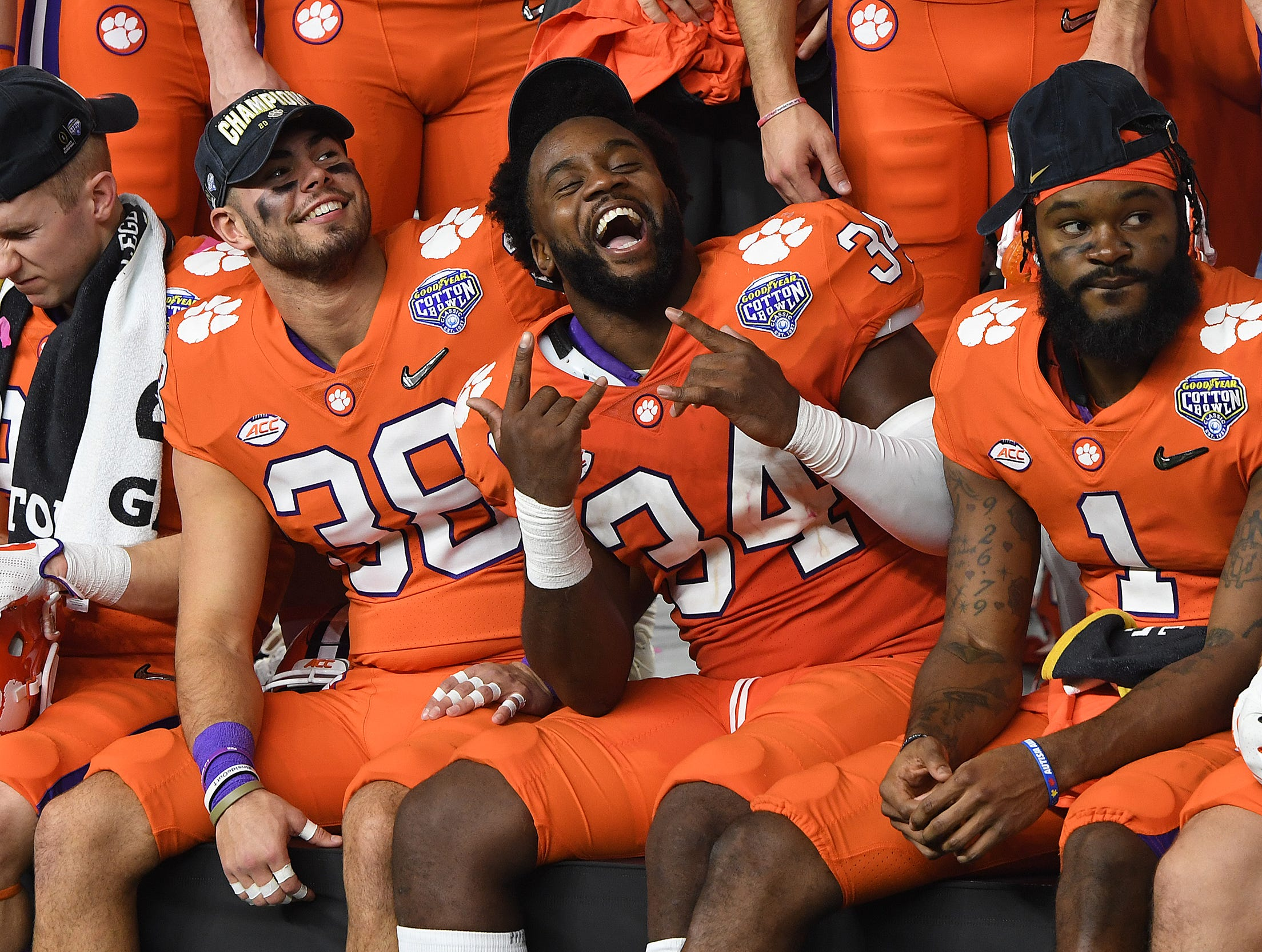 Clemson linebacker Kendall Joseph (34) after the Tigers 30-3 win over Notre Dame in the Goodyear Cotton Bowl at AT&T stadium in Arlington, TX Saturday, December 29, 2018.