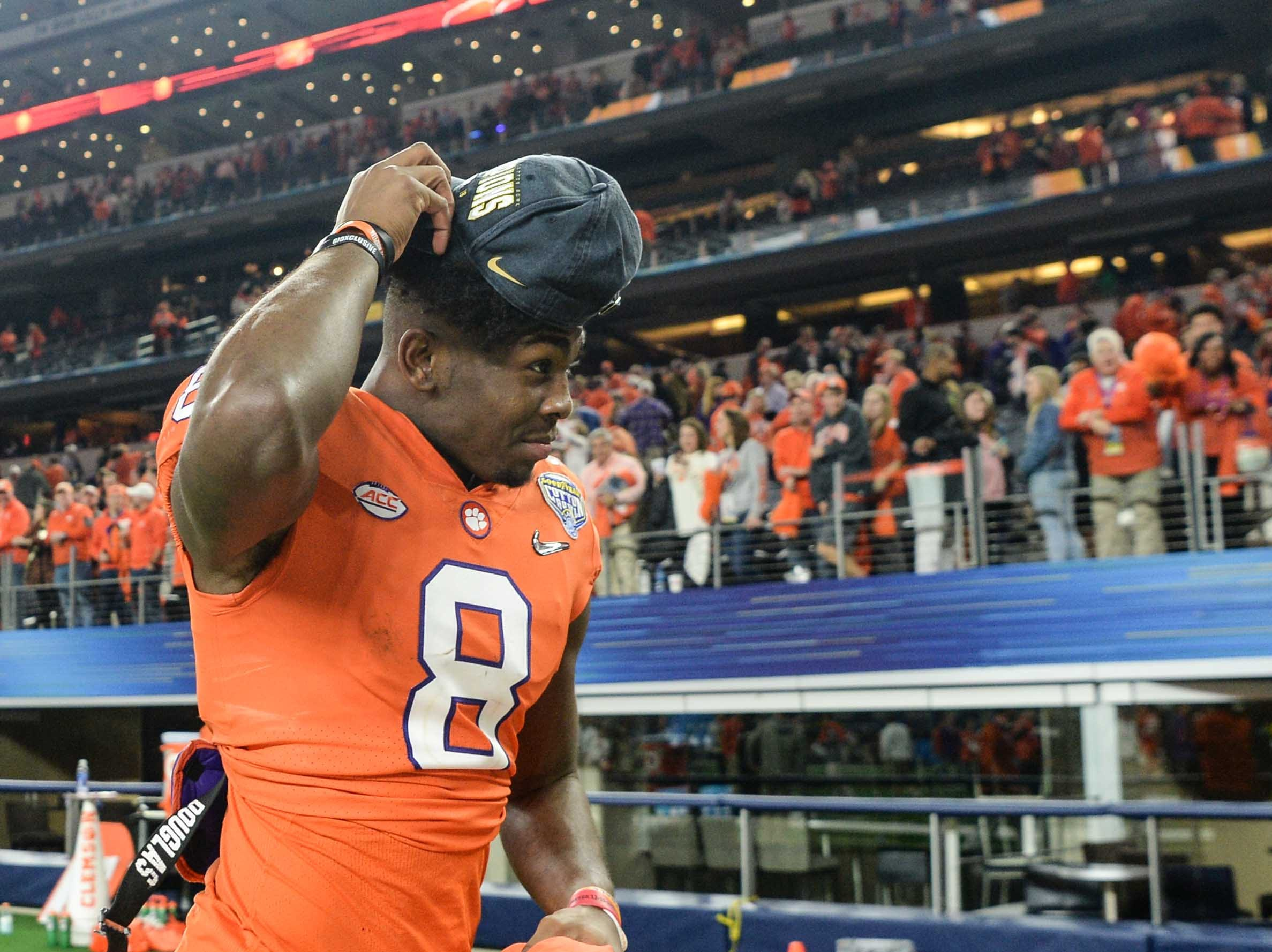 Clemson wide receiver Justyn Ross (8) celebrates after the College Football Playoff Semifinal 30-3 win over Notre Dame at the Goodyear Cotton Bowl Classic at AT&T Stadium in Arlington, Texas Saturday, December 29, 2018.