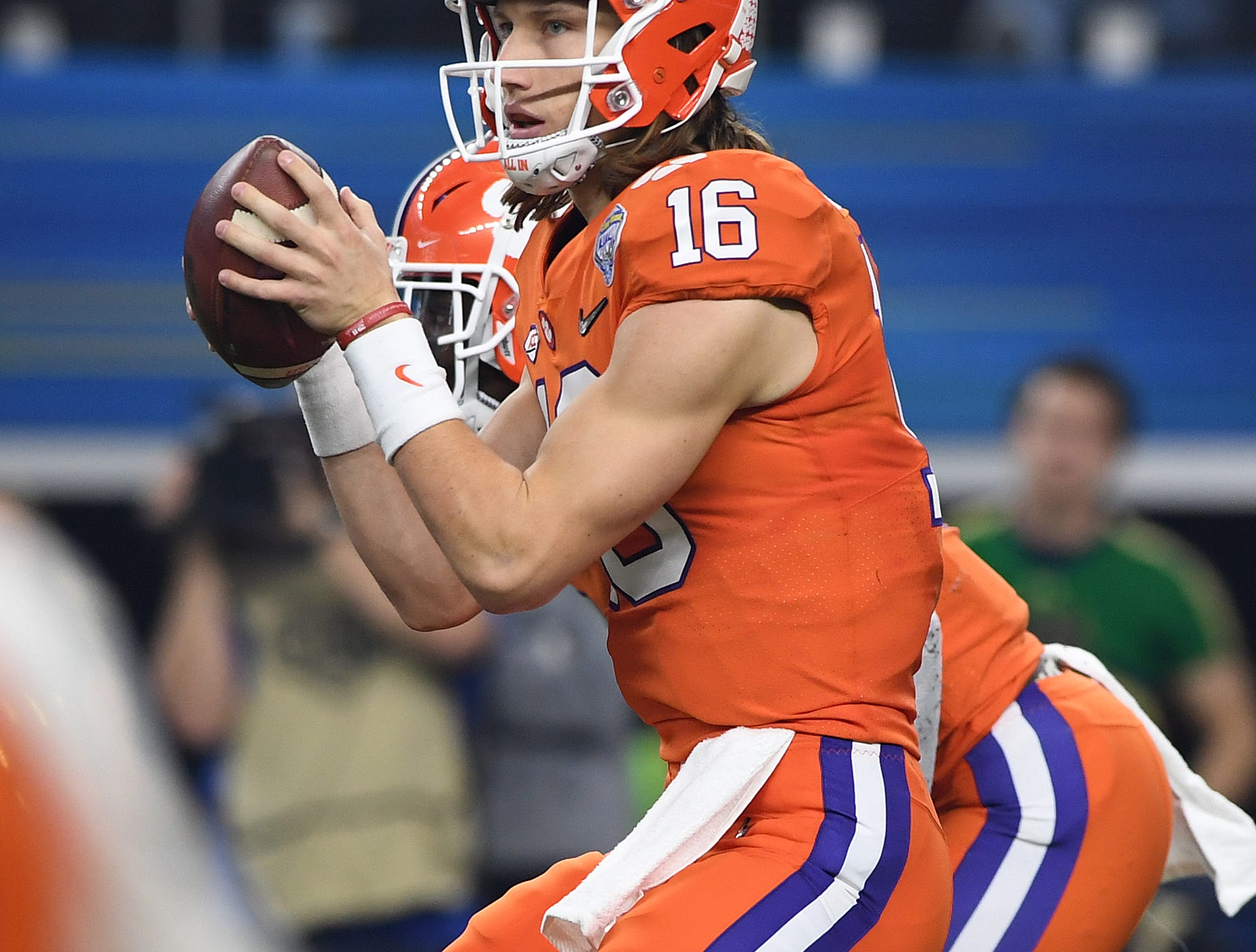 Clemson quarterback Trevor Lawrence (16) plays against Notre Dame during the 1st quarter of the Goodyear Cotton Bowl at AT&T stadium in Arlington, TX Saturday, December 29, 2018.