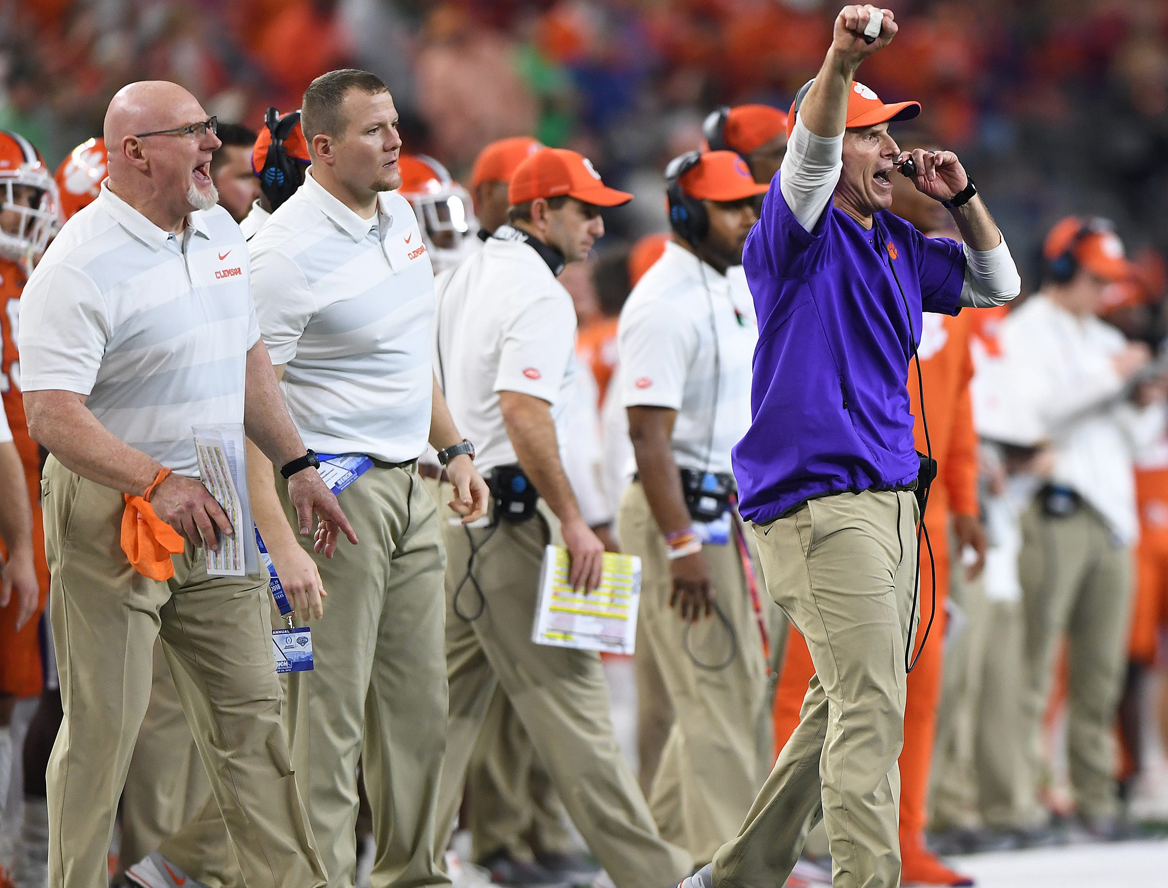 Clemson defensive coordinator Brent Venables during the 4th quarter of the Goodyear Cotton Bowl at AT&T stadium in Arlington, TX Saturday, December 29, 2018.