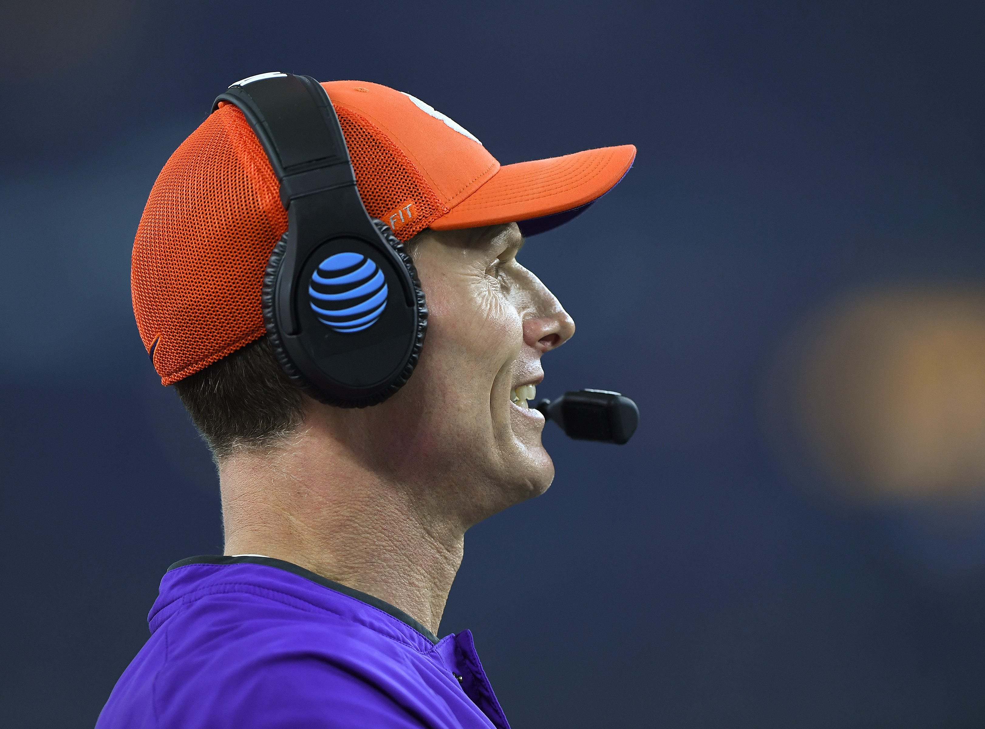 Clemson defensive coordinator Brent Venables coaches against Notre Dame during the 1st quarter of the Goodyear Cotton Bowl at AT&T stadium in Arlington, TX Saturday, December 29, 2018.