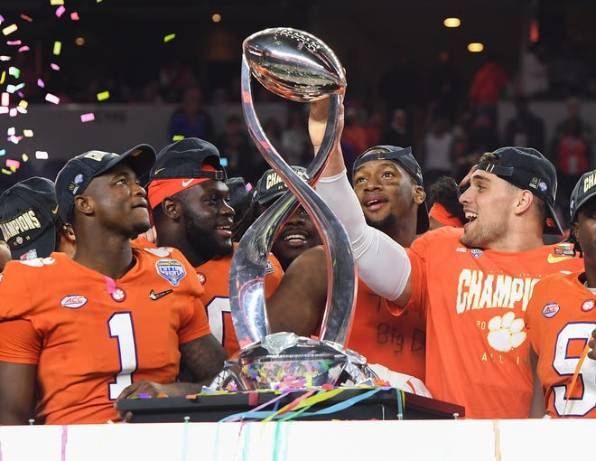 Clemson players after the Tigers 30-3 win over Notre Dame in the Goodyear Cotton Bowl at AT&T stadium in Arlington, TX Saturday, December 29, 2018.