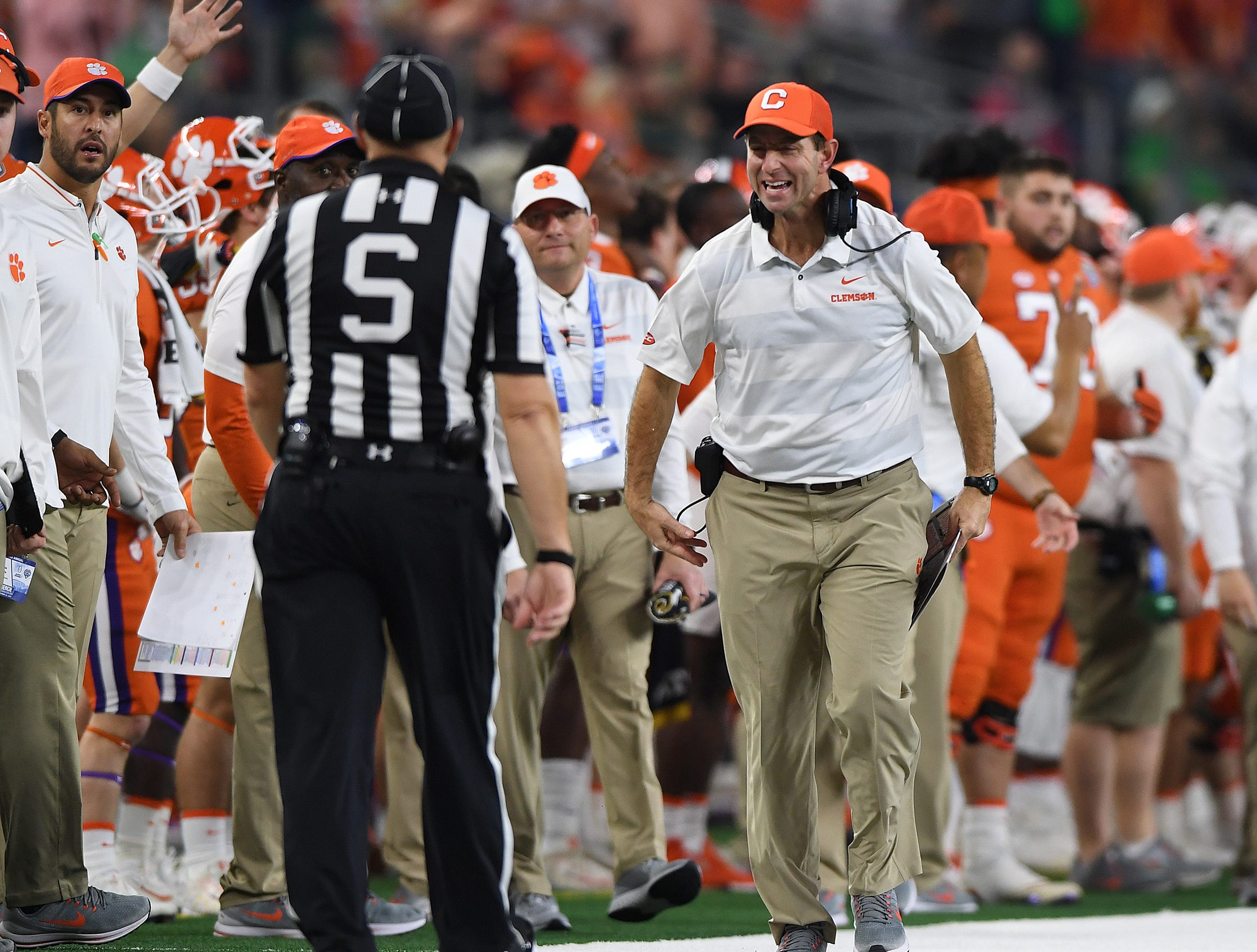 Clemson head coach Dabo Swinney during the 4th quarter of the Goodyear Cotton Bowl at AT&T stadium in Arlington, TX Saturday, December 29, 2018.